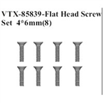 VRX-85839 Flat Head Screw Set 4x6mm (8)