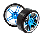 HSP Drift Tyres w. Chrome Wheels - Blue 2pcs